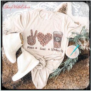 PEACE LOVE STARBUCKS Coffee Custom Graphic T-shirt